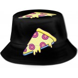 Delicious Bacon and Cheese Pizza Fisherman Hats Summer Outdoor Bucket Hat Travel Beach Sun Hat Black  B0992G16WG