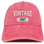Trendy Apparel Shop Vintage 1937 Embroidered 84th Birthday Soft Crown Washed Cotton Cap One Size B079W42817